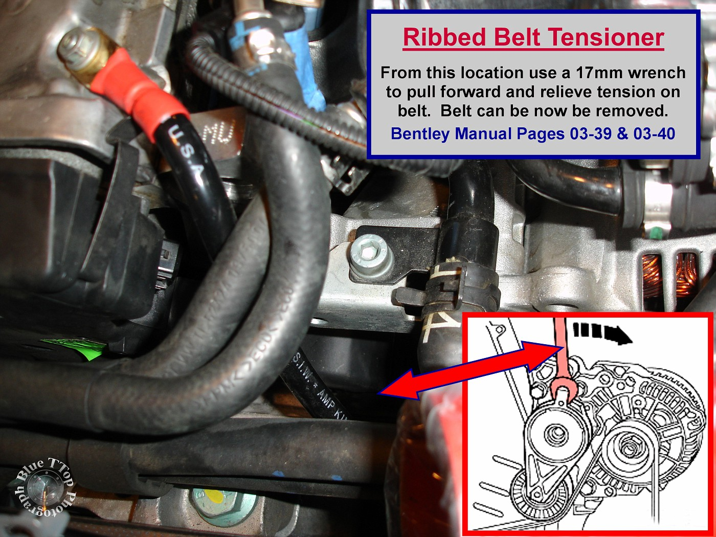 Once the Ribbed Belt is removed the Tensioner can be removed. It is held in  place by 3 - 13mm head bolts. Remove the 3 bolts and remove the Tensioner.