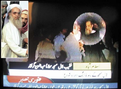 Maulana Mohammad Abdul Aziz in his usual appearance and as disrobed trying to flee the Lal Masjid complex in a burqa