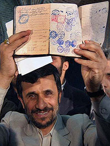 Ahmadinejad showing identity papers