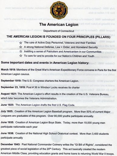 PAGE 01A - AMERICAN LEGION TIME LINE