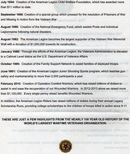 PAGE 01B - AMERICAN LEGION TIME LINE