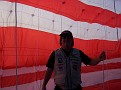 Jim Martin, Flight and Safety Team Leader, inside the Mega Flag.