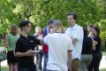 Seth catching up with old acquaintences at the department picnic