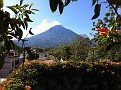 The view from the flat rooftop of the Lucky Morales Homestay.  Volcan Agua.