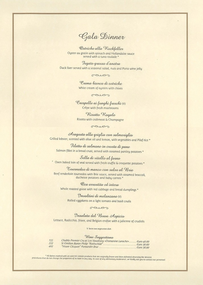 Gala Dinner Menu 24 Dec 2006