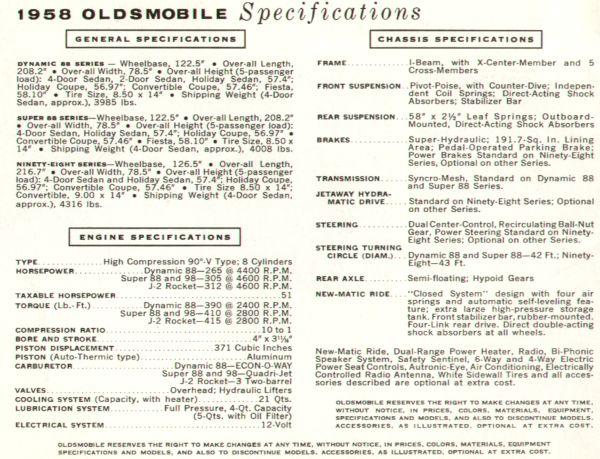 1958 Oldsmobile, Brochure. 17