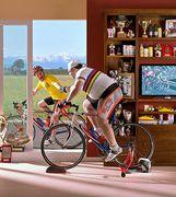 An avid racing cyclist at home