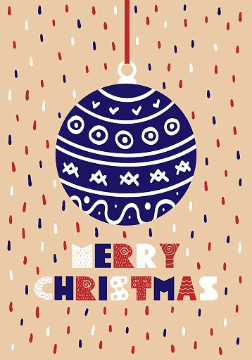 Cute Christmas cards with a picture of the Christmas ball in Scandinavian style