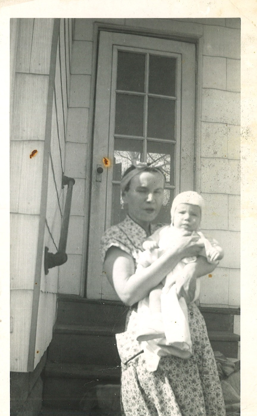 Bob and Mom over at Grandma's house on Chalmers  Spring/Summer 1955