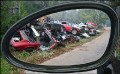 porsche pile in mirror