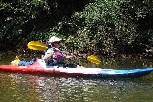 Trekking down river like an expert.