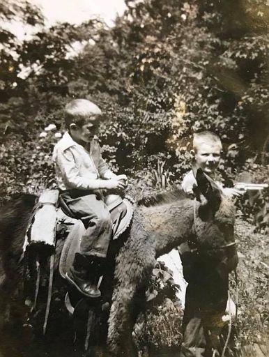Terry, Quinton Sharp riding Kermit's donkey