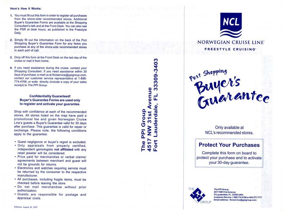 NCL's Port Shopping Buyer's Guarantee