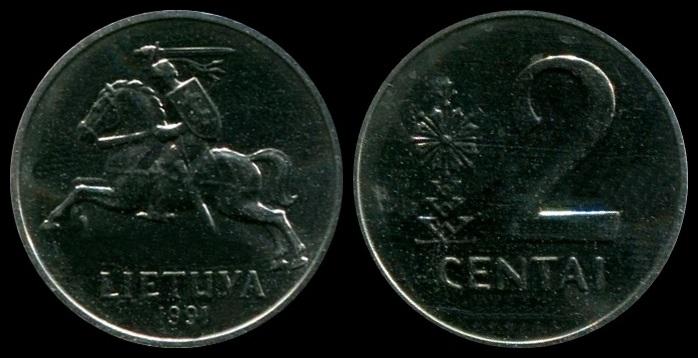 Lithuania 1991 two centai