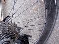 Damaged rear wheel with cutted spoke