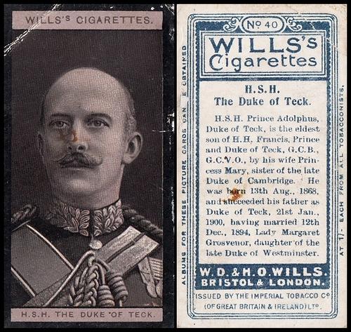 1908 Wills European Royalty #040