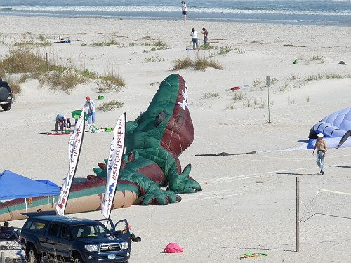 Saturday -- Jeff's croc settles to the sand.