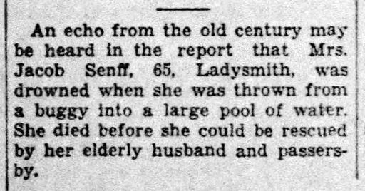 1932 - Della [Phend] Senff drowns obit - Wausau Daily Herald - 14 Apr 1932